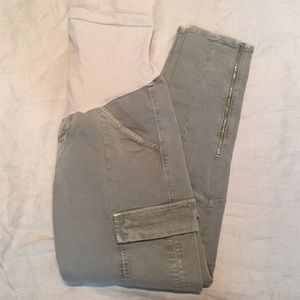 J Brand Maternity ankle zip olive green cargo pant